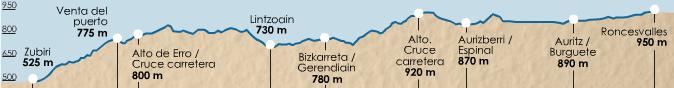 карта высот этапа 2 (Roncesvalles  - Zubiri)